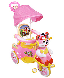 Fab N Funky Musical Baby Tricycle With Push Handle - Pink