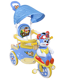 Fab N Funky Musical Baby Tricycle With Push Handle - Blue
