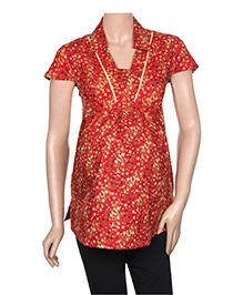Uzazi Maternity Top Cap Sleeves Collared Neck - Red - Medium