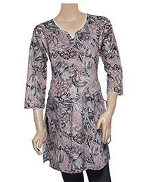 Uzazi Maternity Tunic Top - Laced Neck Pattern - Large