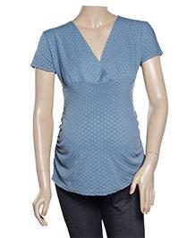 Uzazi Maternity Top Short Sleeves - Airforce Blue