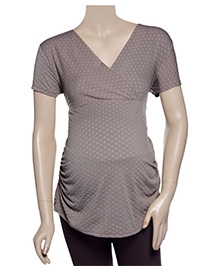 Uzazi Maternity Top Short Sleeves - Coffee Brown - Extra Small