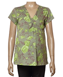 Uzazi Maternity Nursing Top Short Sleeves - Green