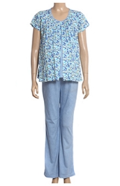 Uzazi Nursing Night Suit Flower Print - Blue
