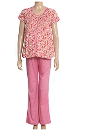 Uzazi Nursing Night Suit Flower Print - Dark Pink