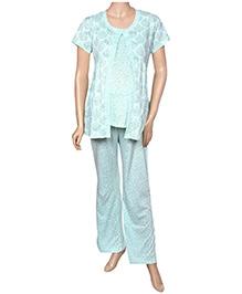 Uzazi Maternity Night Wear Printed - Blue