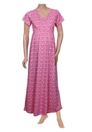Uzazi Short Sleeve Maternity Nursing Nighty - Pink