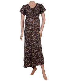 Uzazi Full Length Nursing Nighty Short Sleeves - Brown