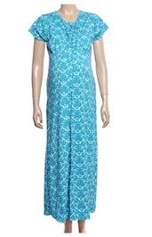 Uzazi Nursing Nighty Full Length With Short Sleeves - Blue