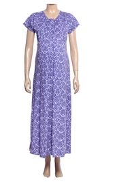 Uzazi Nursing Nighty Full Length With Short Sleeves - Violet