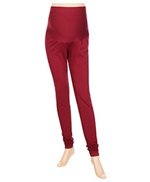Uzazi Maternity Stretch Leggings Full Length - Maroon