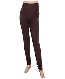 Uzazi Maternity Stretch Leggings Full Length - Brown