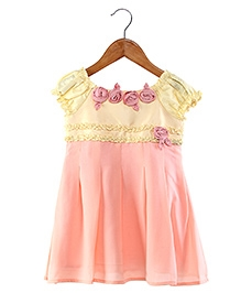 My Lil Berry Cap Sleeves Rosette Frock - Peach And Cream