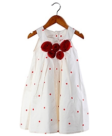 My Lil Berry - Sleeveless Rosette A-Line Frock With Polka Dots