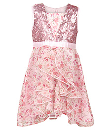 My Lil Berry Sleeveless Frock With Sequin And Ruffle Detail - Pink