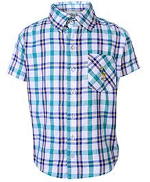 Babyhug Half Sleeves Shirt With Check Print - Sea Green