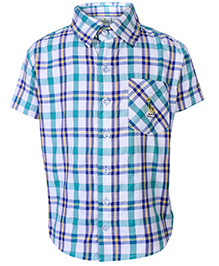 Babyhug Half Sleeves Shirt With Check Print - Sea Green