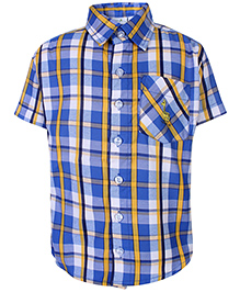 Babyhug Half Sleeves Shirt With Check Print - Blue
