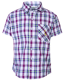 Babyhug Half Sleeves Shirt With Check Print - White and Purple