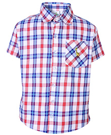 Babyhug Half Sleeves Shirt With Check Print - White and Orange