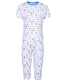 Doreme Half Sleeves Night Suit With Cute Print - Blue and White