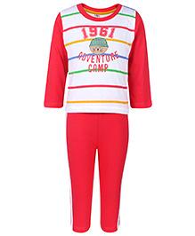 Paaple Full Sleeves T-Shirt And Leggings Set - Pink