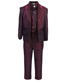 Babyhug Full Sleeves Four Piece Party Suit - Maroon