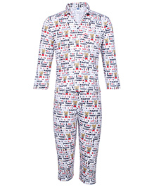 Teddy Night Suit Full Sleeves - White