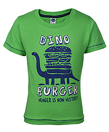 Teddy Half Sleeves T-Shirt Dino Print - Green