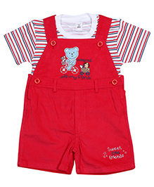ToffyHouse Dungaree Style Romper With Half Sleeves T-Shirt - White And Red