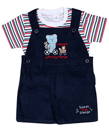 ToffyHouse Dungaree Style Romper With Half Sleeves T-Shirt - White And Navy Blue