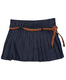 Gini & Jony Pleated Skirt With Belt - Blue