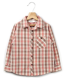 Beebay Full Sleeves Shirt With Check Print - Light Red and Brown