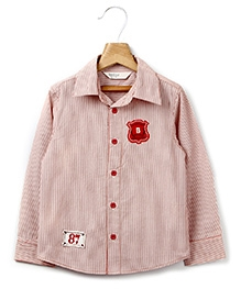 Beebay Full Sleeves Shirt With Stripe Print And 2 Patches - Red