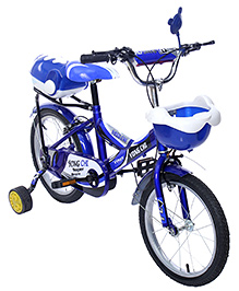 Fab N Funky Bicycle With Front Mirror And Training Wheels - Blue