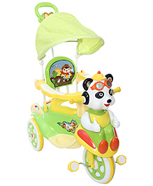 Fab N Funky Musical Baby Tricycle With Push Handle - Green And Yellow