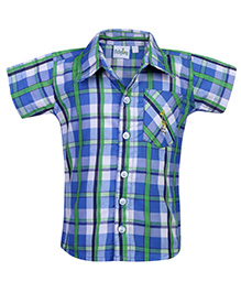 Babyhug Half Sleeves Shirt Check Print - Giraffe Logo