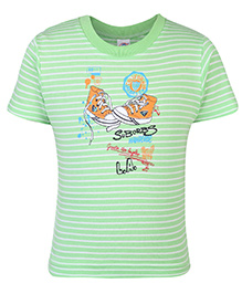Zero T-Shirt Half Sleeves Stripes Print - Green