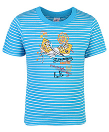 Zero T-Shirt Half Sleeves Stripes Print - Blue