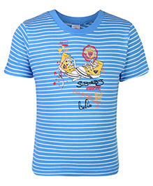 Zero T-Shirt Half Sleeves Stripes Print - Sky Blue