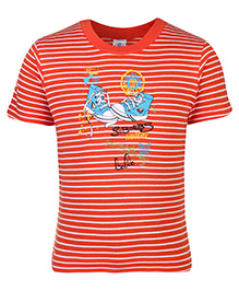 Zero T-Shirt Half Sleeves Stripes Print - Orange