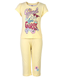 Paaple Short Sleeves Night Suit - Yellow