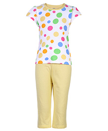Paaple Short Sleeves Night Suit Dotted Print - Yellow