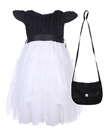 Gini & Jony Frock Cap Sleeves With Purse - Black And White