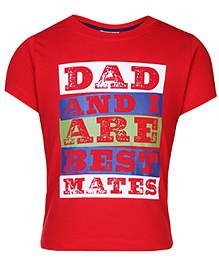 Kids Today T-Shirt Half Sleeves With Print - Red