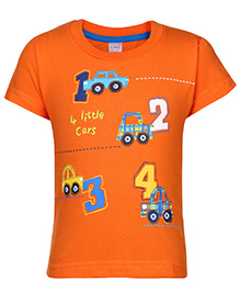 Pink Rabbit Half Sleeve T-Shirt Car Print - Orange