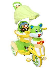 Fab N Funky Musical Baby Tricycle With Push Handle - Green