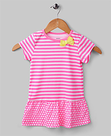 Stripe and Bow Dress - Pink