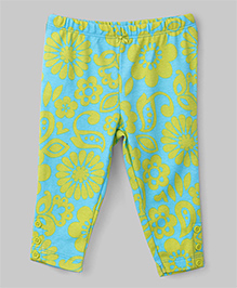 Flower Print Leggings - Yellow