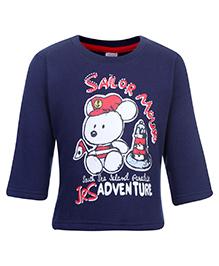 Pink Rabbit Fleece T-Shirt Full Sleeve - Navy Blue